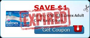 SAVE $1.00 on any ONE (1) Balmex Adult Care Rash Cream