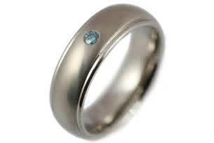 Engagement Rings   Mens Titanium and Blue Diamond