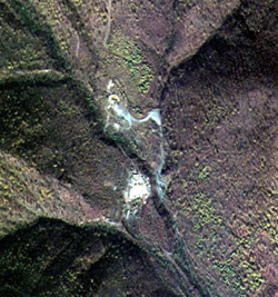 This image taken on Oct. 16, 2006 by South Koreas multipurpose satellite Arirang No. 2 shows Punggye-ri in North Hamgyong Province, believed to be the site of North Koreas nuclear tests. /Courtesy of Korea Aerospace Research Institute