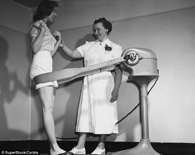 A young woman leaning against the belt of a slimming machine with her instructor checking her pulse. The vibrations were thought to blast fat and improve circulation