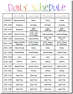 daily schedule for the family *Intense but cd be very useful in ...