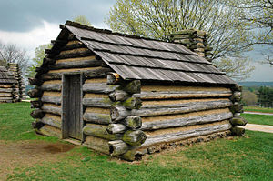 Recreation of a cabin in which soldiers would ...