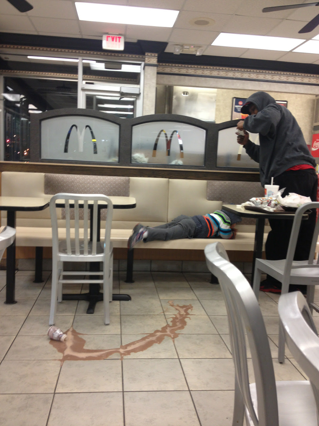 "andwebecamesunshine:  suicidle:  i was at mcdonalds and this kid dropped his chocolate milk, began to cry, and his dad got up, said ""this some instagram shit"" and starte taking pictures and i cant breath  An absolute Jamie move."