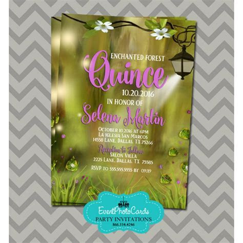 Enchanted Forest Save the Date for Quinceanera or Sweet 16