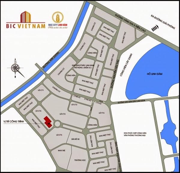 Vị trí nhà ở xã hội Tây Nam Linh Đàm - Rice City