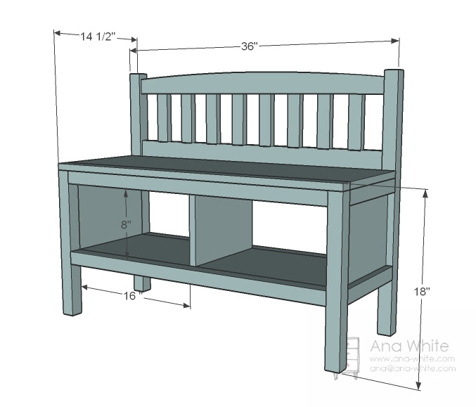 Ana White | Build a Cottage Bench with Storage Cubbies | Free and ...