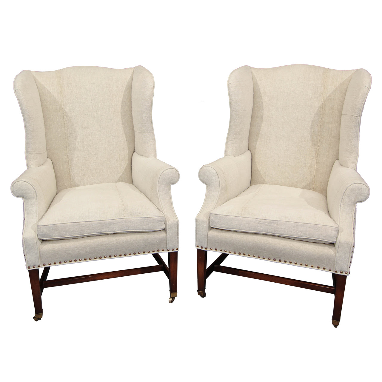 Double White Upholstered Wingback Chairs