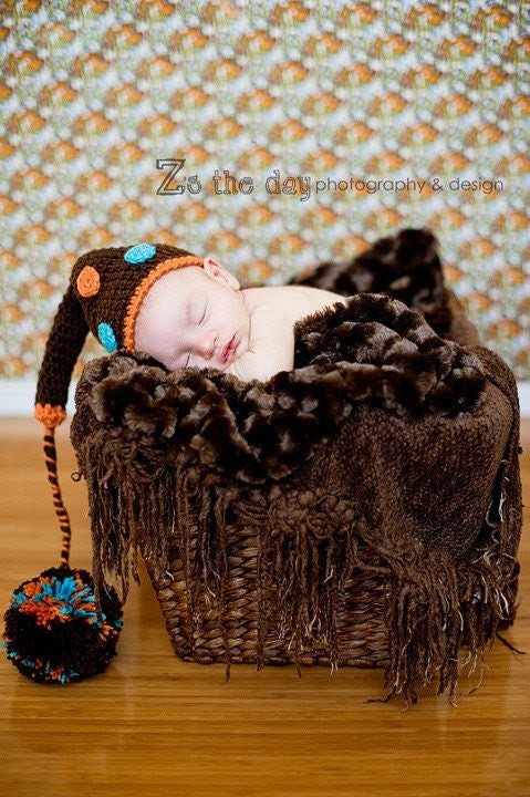 Baby Photography Prop Chocolate Brown Dotted with Tangerine Turquoise Newborn
