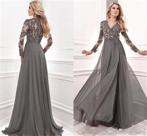 Grey Chiffon Elegant Mother Of The Bride Dresses Long