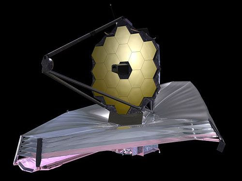 An artist's concept of the James Webb Space Telescope.