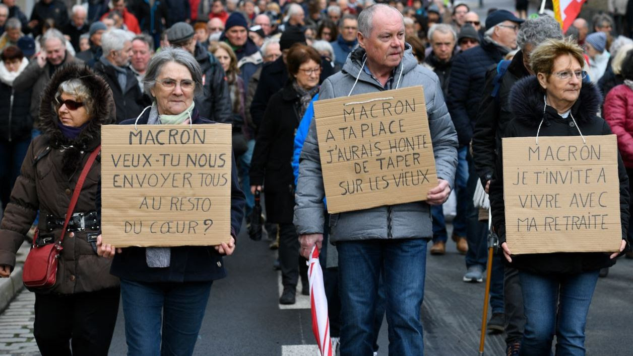 Pensioners demonstrate along with striking EHPAD (Establishment for the Housing of Elderly Dependant People) employees, on March 15, 2018 in Rennes, as part of a nation-wide movement of retired workers to protest against a new hike in a tax taken from their pensions, while EHPAD workers call for more resources.