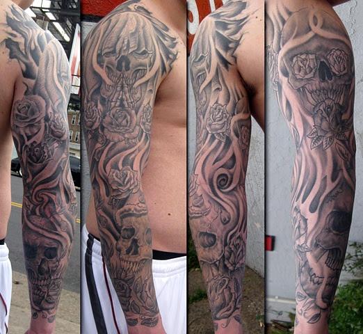 Skull And Roses Tattoo Sleeve Ellenslillehjorne