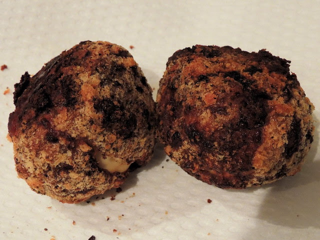 Finished, cooked Scotch eggs