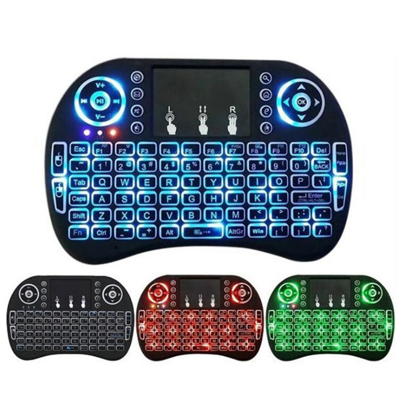 Wireless Keyboard Touchpad with Colored Backlight and Air Mouse