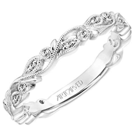 artcarved florence thin flower scrollwork wedding band