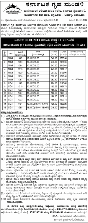 KHB announces auction notification for 1st phase of suryanagar