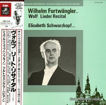 FURTWANGLER, WILHELM wolf; lieder recital