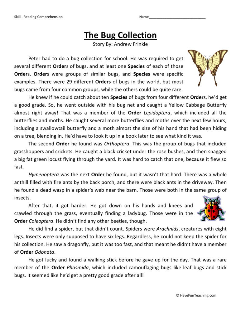 Reading Prehension Worksheet The Bug Collection