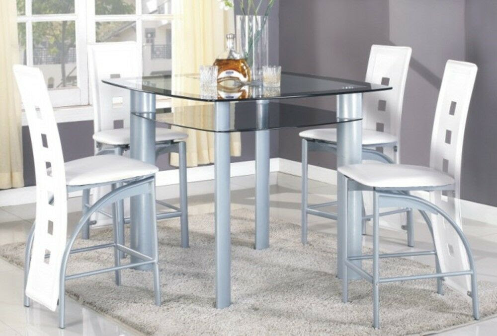 5pc Metal Tempered Glass Top Pub Set, a table with 4 pub chairs dining table set  eBay