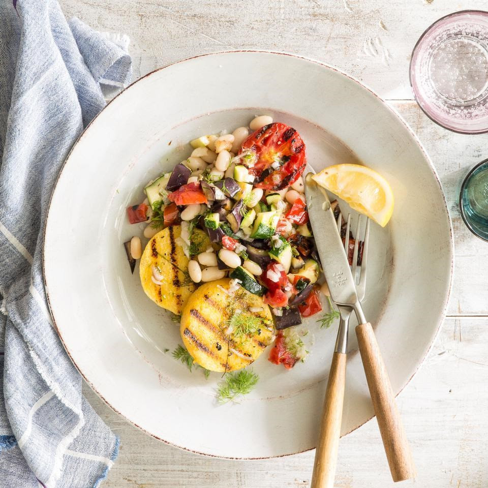 Grilled Polenta & Vegetables with Lemon-Caper Vinaigrette