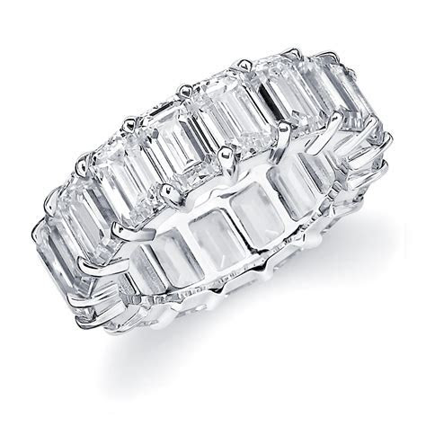 Emerald Cut Diamond Eternity Ring   Emerald Cut Wedding Band