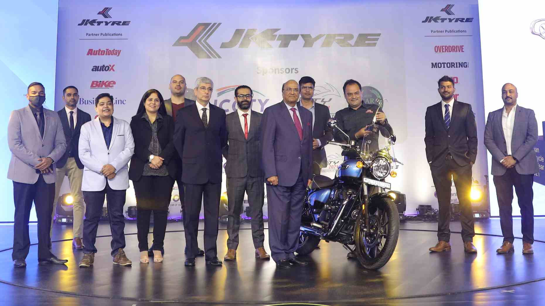 The Royal Enfield Meteor 350 beat the KTM 390 Adventure and Hero Xtreme 160R to the crown. Image: JK Tyre