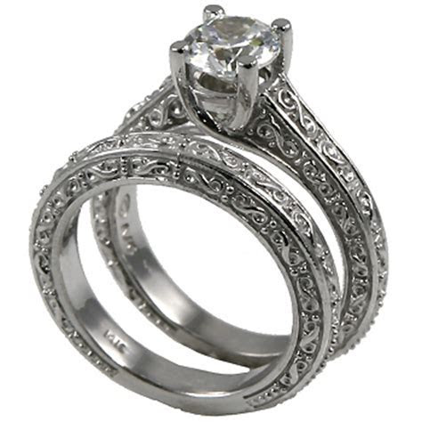 Sterling Silver Antique style Wedding Set CZ Cubic