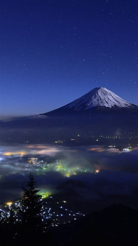 mount fuji japan night view iphone wallpaper