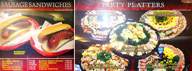 Earle's Delicatessen Menu Sausage Sandwiches and Party Platters