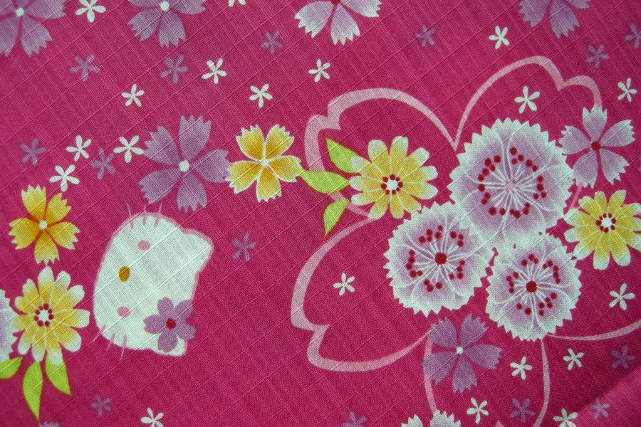 Japanese Cotton Fabric - Hello Kitty and Flowers (B)