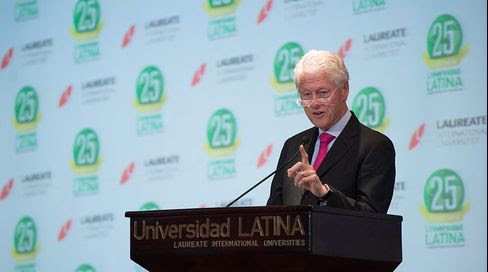 Former President Bill Clinton speaks to students at Laureate's Universidad Latina in Costa Rica.