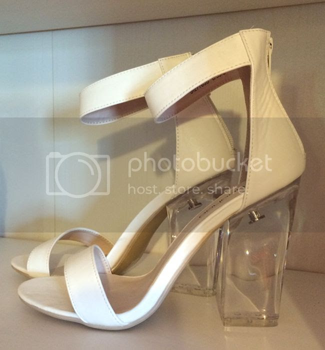 Boohoo Strappy White Perspex Heels