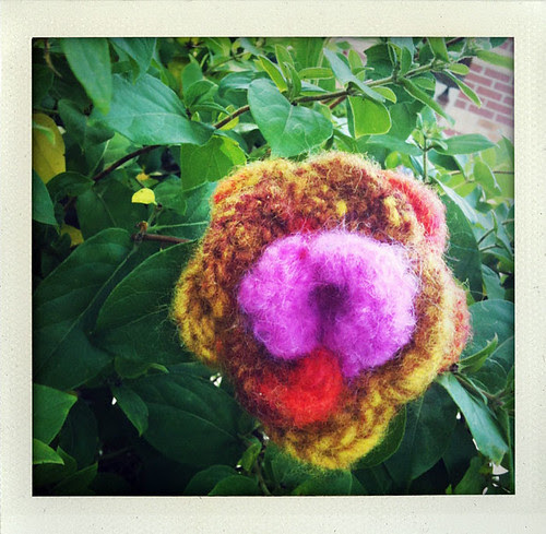 Yarn Bomb Felted Flower close up