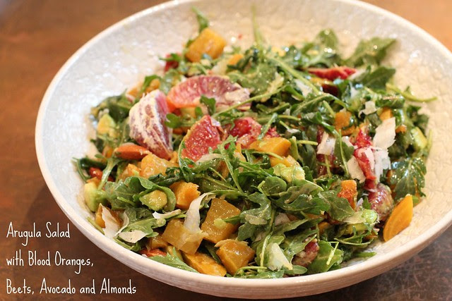 Arugula Salad with Blood Oranges, Beets, Avocado and Almonds