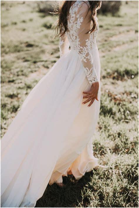 A line Scoop Lace Wedding Dress Long Sleeve Rustic Wedding