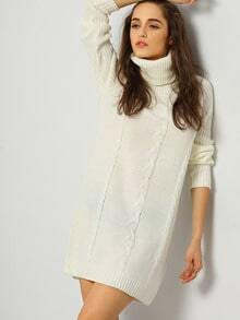 White Long Sleeve Turtleneck Sweater