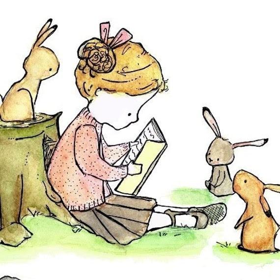 Story Girl  5x7 Childrens Nursery Art Print