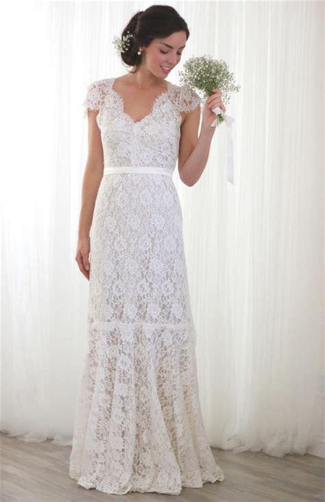 Elegant V Neck Lace Wedding Dress For Older Brides Over