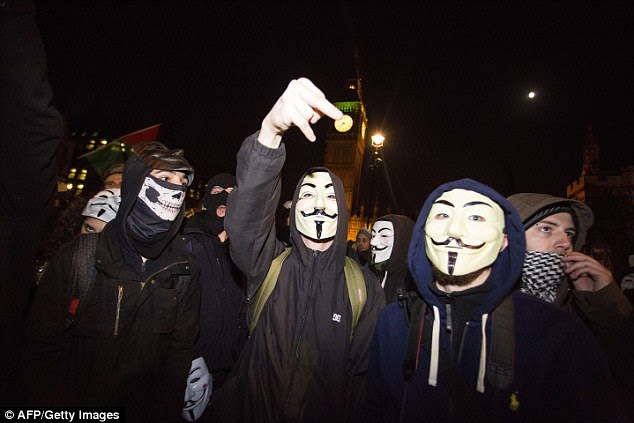 The group - which uses the Guy Fawkes masks as its trademark - said it fights against mass surveillance, austerity and infringement of human rights