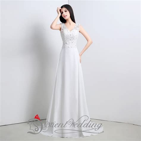 Simple Cheap Wedding Dresses Under 100 V Neck Beaded Top