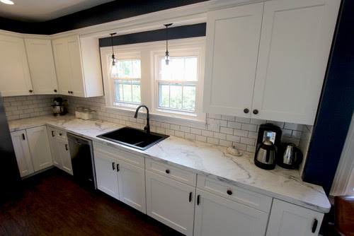 White Kitchen with Marble Look Laminate Countertop ~ Akron, OH