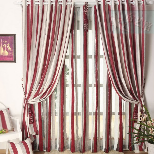 Chenille Pleated Striped Living Room Curtains in Multi-colors (Two ...