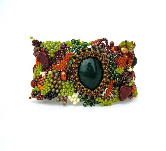 Green Brown Beaded cuff, Freeform Bracelet