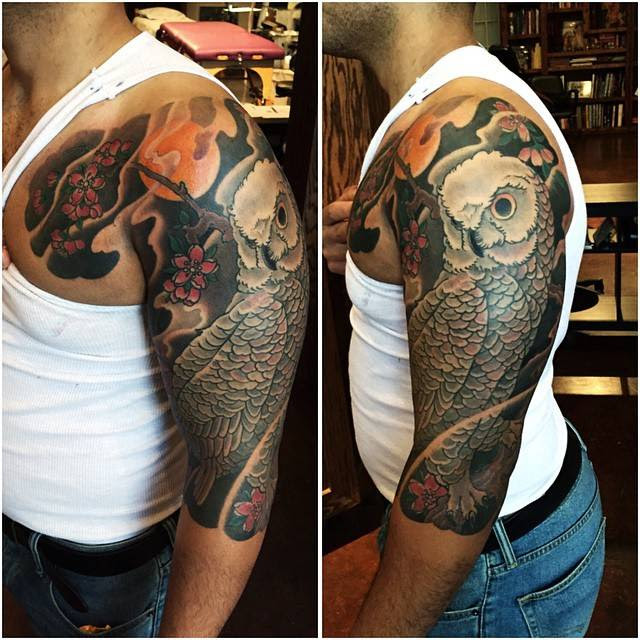 Tatto Inspirations Color Half Sleeve Tattoo Done In Japanese Style