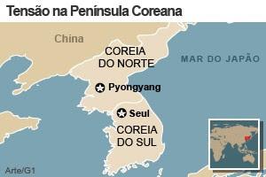 mapa coreias 05.04 (Foto: Arte/G1)