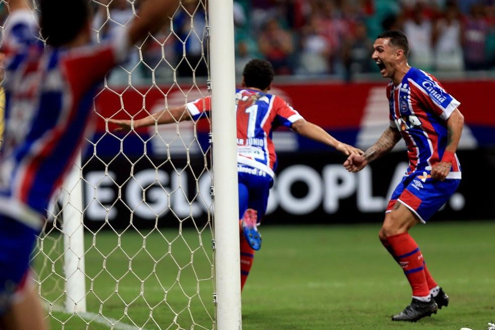 Edigar Junio comemora gol marcado contra o Cruzeiro (Foto: Felipe Oliveira/Divulgação/EC Bahia)