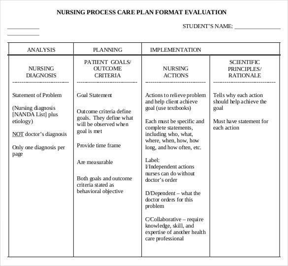 Nursing Care Plan Template - 19 Free Word, Excel, PDF ...