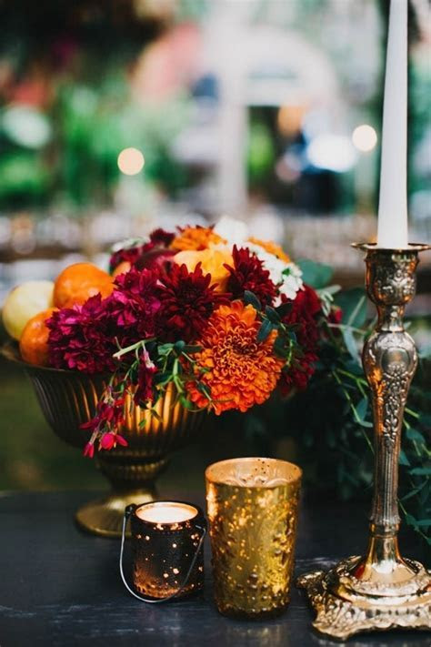 Burnt Orange and Magenta Floral Wedding Reception