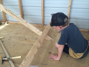Here my son is working on the frame of our hinged roost, this will be great for when he needs to clean it out ;)