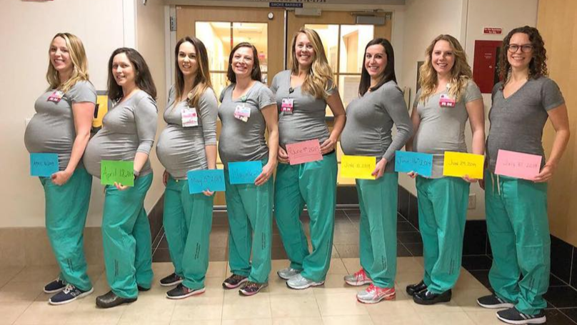 Nine Nurses Working On The Same Maternity Ward Are All Pregnant